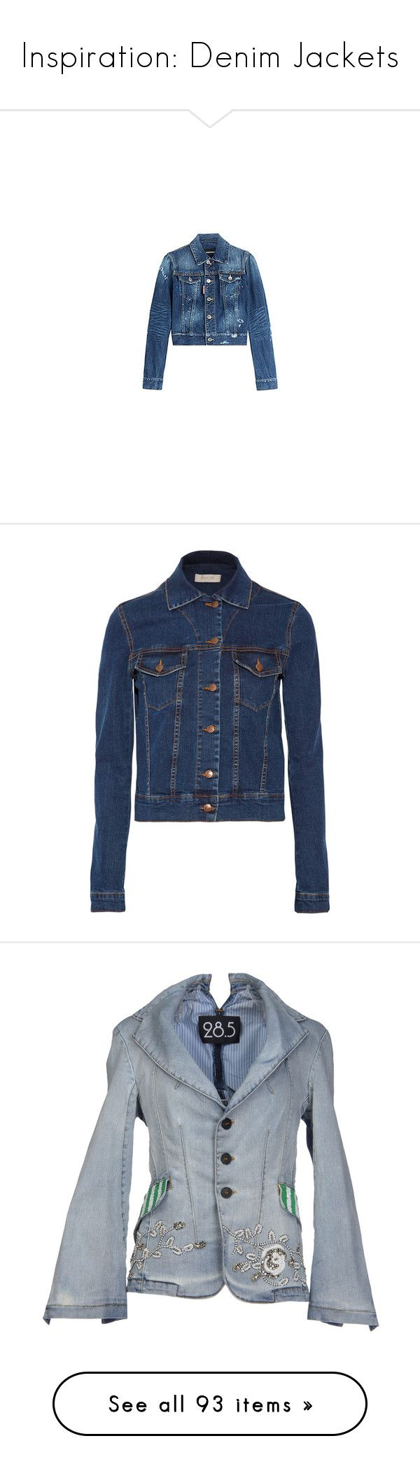 """""""Inspiration: Denim Jackets"""" by skeletorsmom ❤ liked on Polyvore featuring outerwear, jackets, slim fit jackets, slim fit jean jacket, dsquared2, blue denim jacket, urban jackets, philipp plein, denim and куртки"""