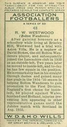 1935-36 W.D. & H.O. Wills Association Footballers #48 Ray Westwood  Back