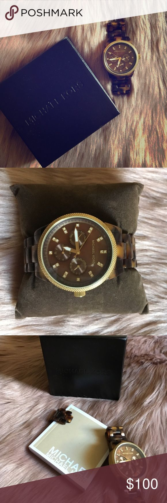 Brown & Black Michael Kors Watch Brown & black Watch with gold details.                 Don't be afraid to use the offer option, we can figure something out if you like anything! Michael Kors Accessories Watches