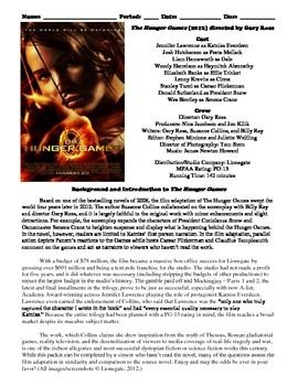 """The following eight-page study guide film packet is used to accompany the Gary Ross-directed 2012 dystopian fiction film, """"The Hunger Games."""" It can be used in an English or film studies classroom. The first page contains a list of cast and crew and a background and introduction on the film."""