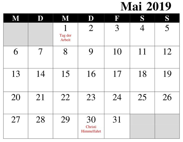 Kalender 2019 Mai Excel | Calendar 2019 printable ...