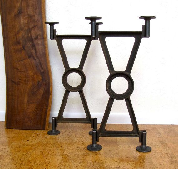 Vintage Industrial Table Base Pair Cast Iron Early 1900s Industrial  Furniture