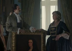 Diego Velázquez shows his painting to queen Isabel de Farnesio in Spanish TV show El Ministerio del Tiempo #timetravel #spain #philipV #history #felipeV #television #costumes #period #drama