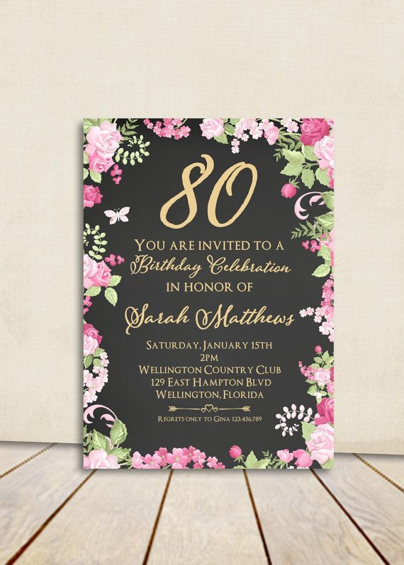 Shabby Chic Chalkboard 80th Birthday Invitation Any Age Gold Vintage Floral Rose Printable Invite