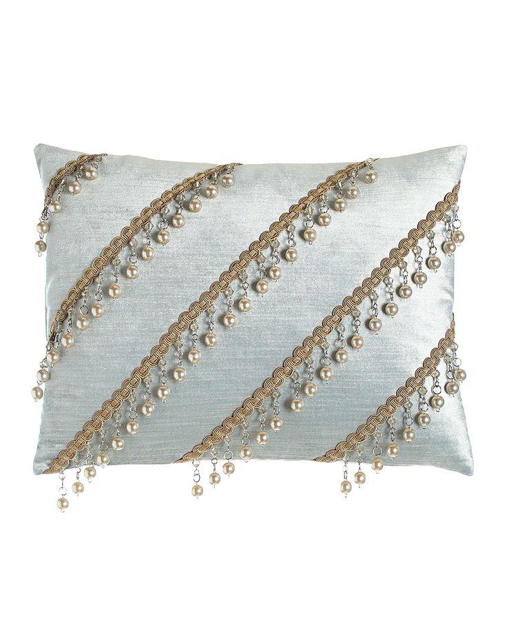 "Aero Velvet Pillow with Bead Trim, 12"" x 16"", Sky Blue - Dian Austin Couture…"