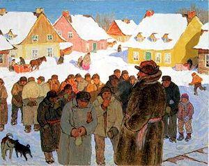 Clarence Gagnon,  Napoleon Laliberte Reports Village News, 1928-1933  gouache and pastel with watercolour