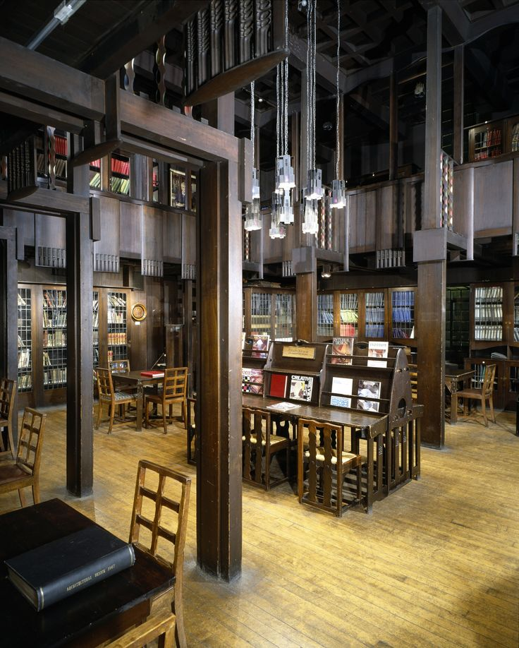 The Library at Glasgow School of Art by architect Charles Rennie Mackintosh, before the fire May 2014