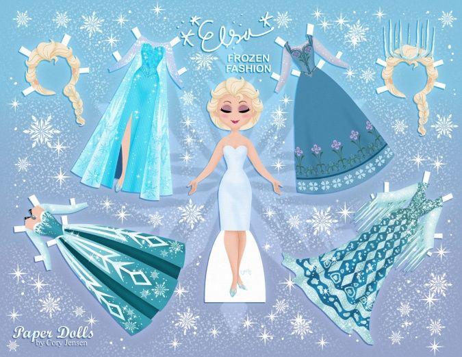 Холодное Сердце: Бумажная кукла Эльзы с нарядами
