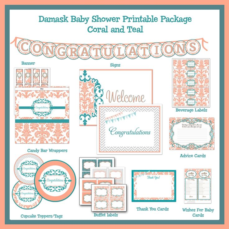 Damask Coral And Teal Baby Shower Printable Package, Dessert Bar Decorations