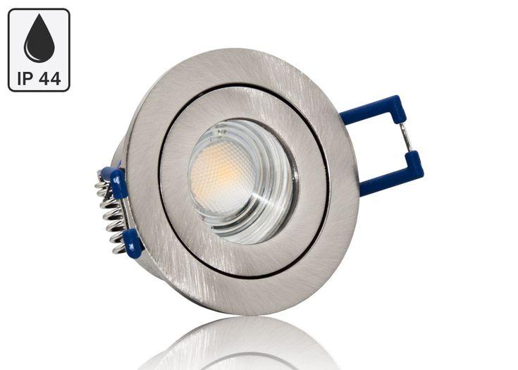 Feuchtraum LED Einbaustrahler Set IP44 MR11 35mm Druckguß gebürstet rund mit Marken LED Spot Bioledex Helso 4 Watt 12V
