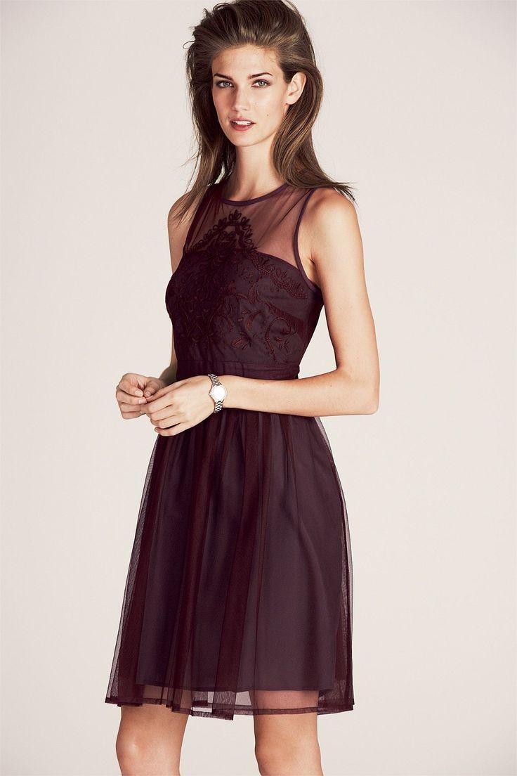 Next Embroidered Mesh Dress - EziBuy Australia. Burgundy beauty #next #fashion #thebrandstore
