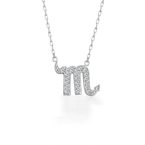Bling Jewelry 925 Sterling Silver Scorpio Zodiac CZ Pave Necklace