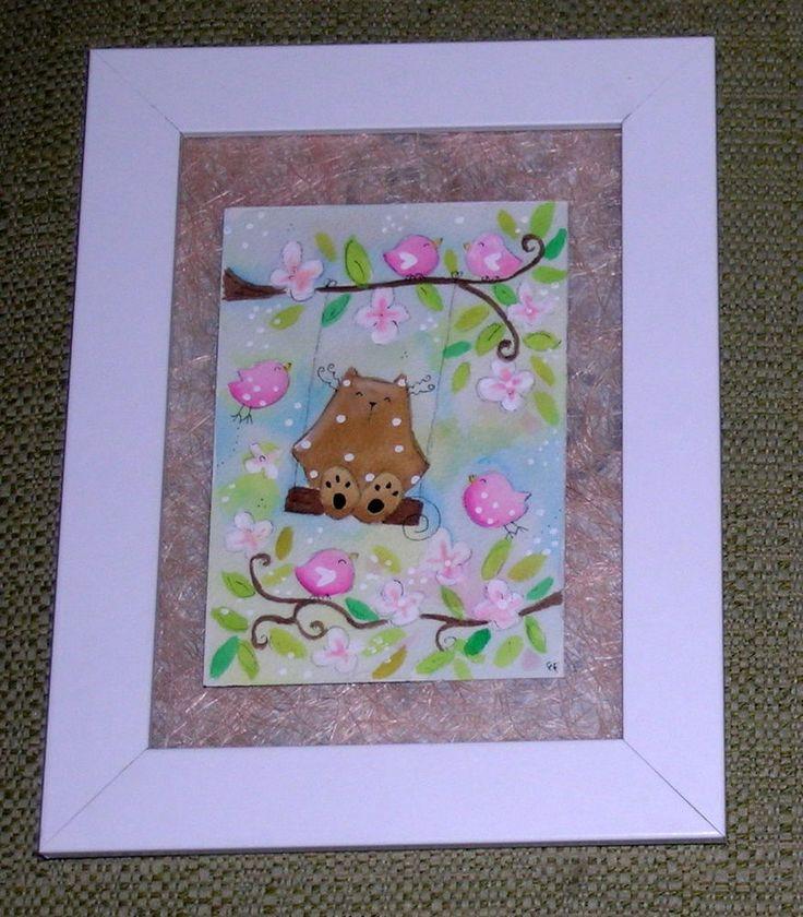 quadretto cornice acquarello dipinto a mano gatto altalena pulcini cameretta