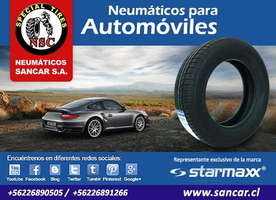 Autos sedan y hatchback   Neumáticos Starmaxx línea TOLERO y NOVARO con índice de velocidad para turismo y ciudad. Ofrece un control perfecto y confort de manejo brindando una marcha silenciosa y segura. Representante Exclusivo en Chile de Starmaxx Neumáticos Sancar, Todos en un solo lugar. http://www.sancar.cl | ventas@sancar.cl | +56226890505 | +56226891266
