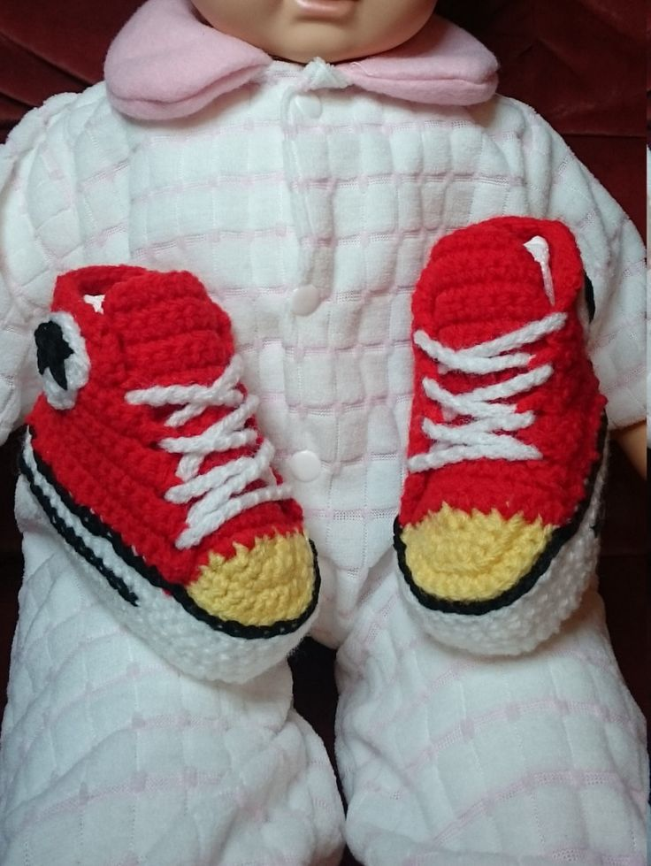 Basket bébé garçon 100% coton fabriqué en crochet Taille 3/6 mois de la boutique leloquencedelisa sur Etsy