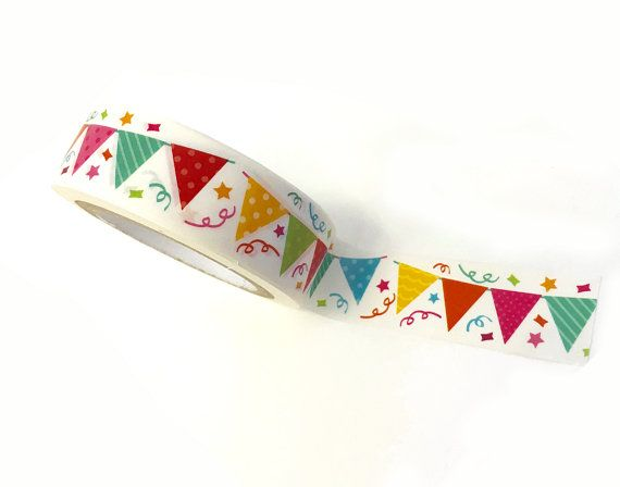 Bunting Banner WASHI TAPE Roll Planner Crafts 10 YARDS flag flags planners birthday party cards invitations card red green blue yellow craft