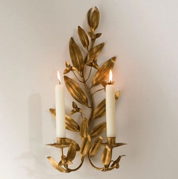 Gold Leaf Candle Sconce - Traditional - Wall Sconces - los ... on Decorative Wall Sconces Non Electric Lights For Closets id=62417