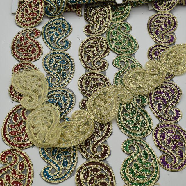 5 ярдов Вышитые бисером горный хрусталь кружевной отделкой Свадебный Свадебная Фата тюль отделка широкий: 5.5 см 6 цвета