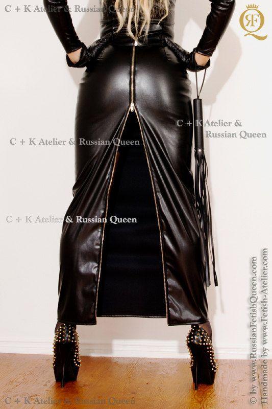 C + K falda de cuero larga, falda larga de laca con cremallera posterior de 2-vías, nuevo, hecho a mano