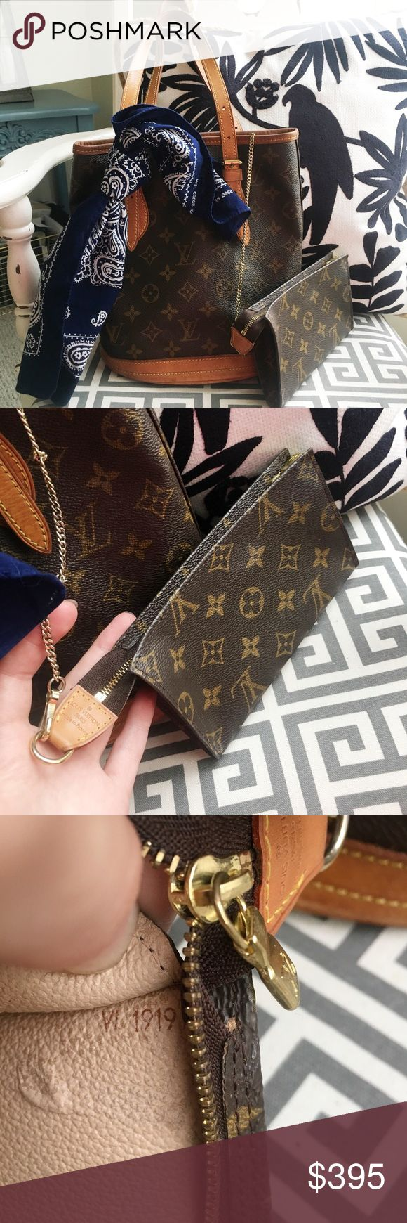 💯% AUTHENTIC LOUIS VUITTON 💯 authentic Louis Vuitton PM bucket bag and pouch. I have removed the sticky lining so all that's left is the smooth, velvety cloth. Great condition, no cracks or tears. Vachetta has some marks as seen. Monogram leather in perfect condition. The pouch still has the lining but it's not that sticky, that's why I didn't remove it. But it has a few spots where it's wanting to peel. Offers welcome Louis Vuitton Bags Shoulder Bags