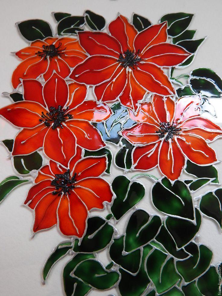 """Купить Панно-стекло """"Красные цветы"""" - панно-стекло, Роспись по стеклу, витражные цветы"""