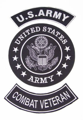 Us Army Combat Veteran Rockers Back Patches Set For Biker