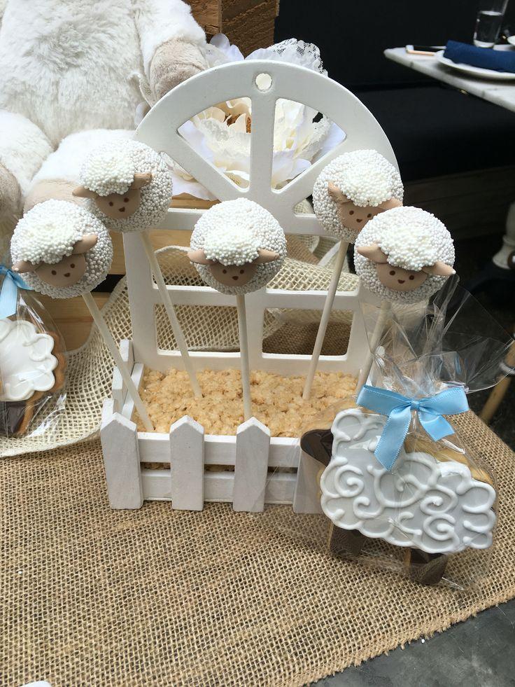 Rustic Neutral Lamb Baby Shower Cake Dessert Table Cakepops