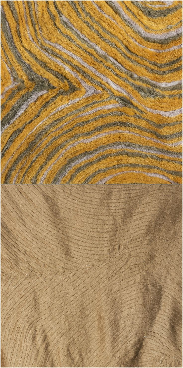0,5cm stripes of fur stiched onto fabric in organic pattern.