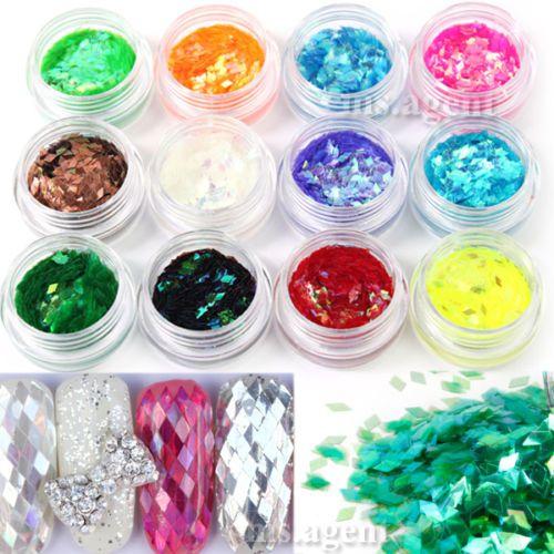 Nail-Art-12-Colors-Sparkle-Rhombus-Glitter-Decoration-Tips-Powder-Acrylic-UV-Gel
