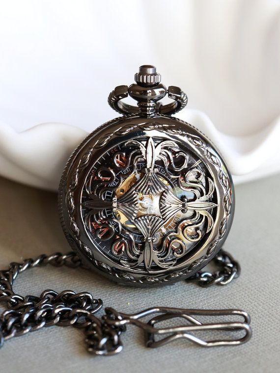 Black Personalized Mens Pocket Watch,Mechanical Pocket Watch,Steampunk Pocket Watch,Pocket Watch Chain,Groom Gift,Groomsmen Gift