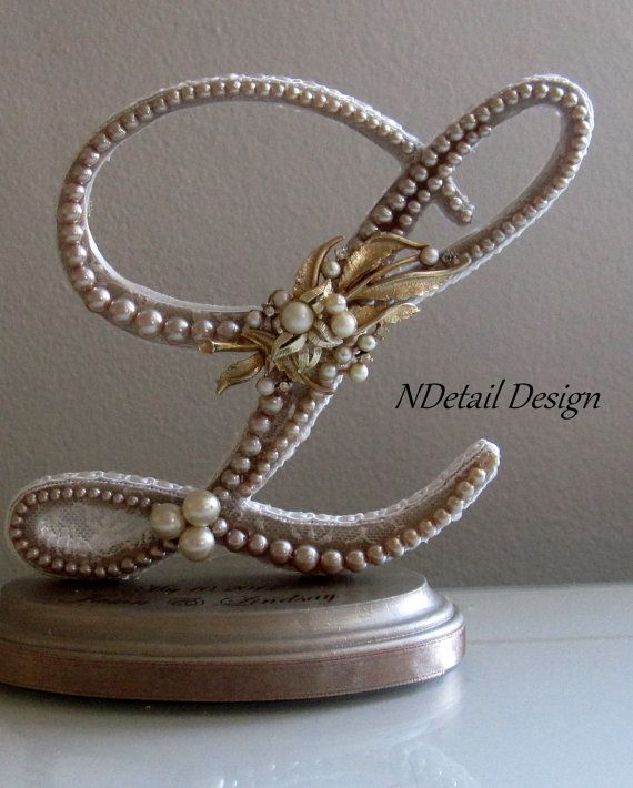 items similar to rustic wedding cake topper engraved keepsake monogram letter l vintage champagne lace pearls gold brooch country fall bridal decor