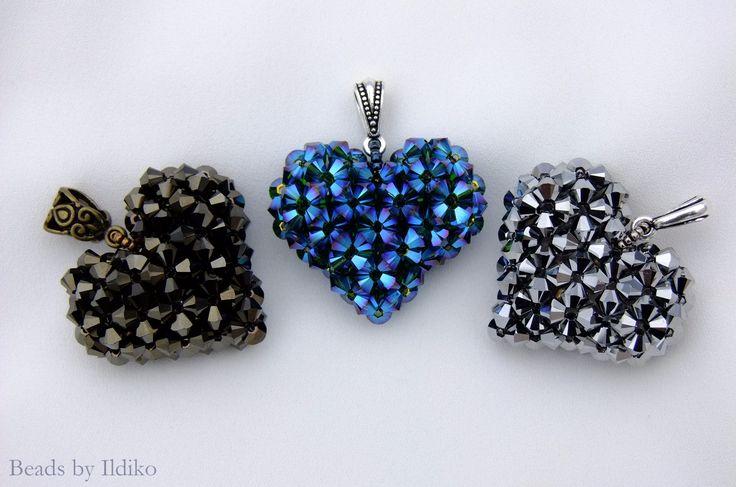 Swarovski 3D heart pendants