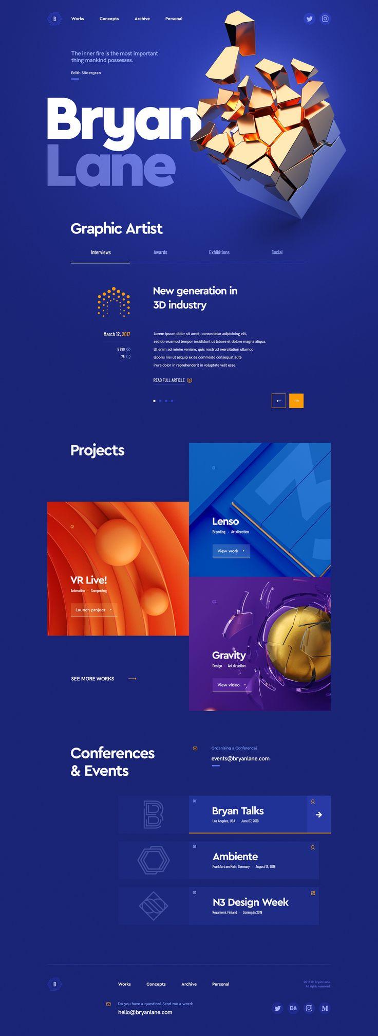 Web design portfolio modern gold hi tech