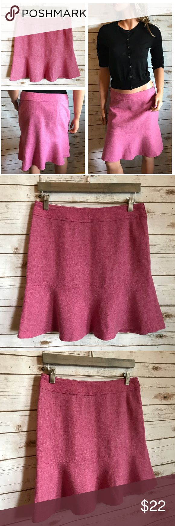 "GAP Skirt Pink Wool Trumpet EUC GAP Skirt Pink Wool Trumpet EUC Size 4 Wool Nylon  15.5"" waist 19"" long Size zipper  I love to bundle up to $100 or 20lbs. whichever comes first. *** PLEASE DON'T BUY if you are scent sensitive. I use fragranced detergent, dryer sheets, wrinkle release, etc. ***  •••Thank you for looking and please check out the rest of my closet. ••• GAP Skirts Mini"