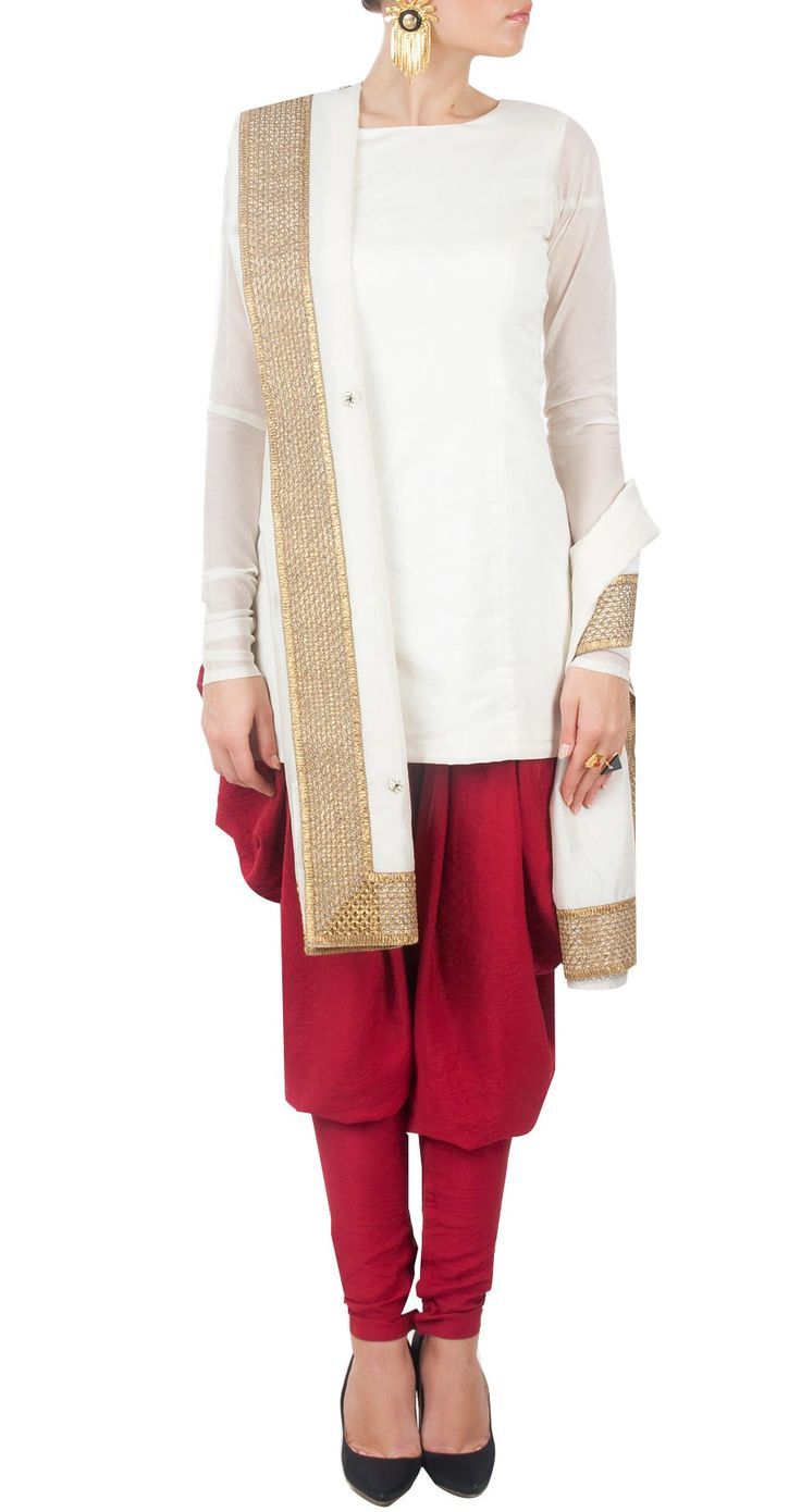 PAYAL SINGHAL White and red kurta set with embroidered dupatta