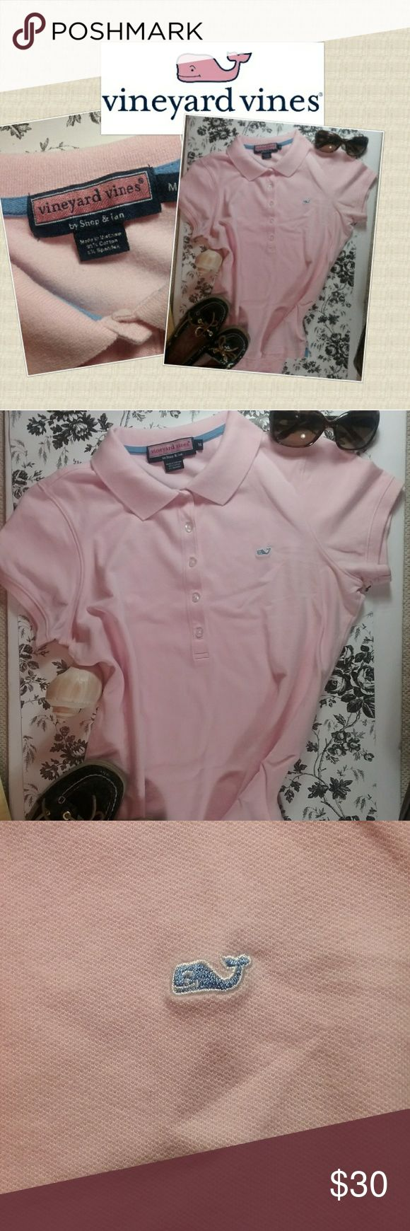 """Vineyard Vines Women's Pink Polo Beautiful Vineyard Vines pink polo shirt. Embroidered Logo on front. Size is medium.  Measurements; Armpit to armpit: 17"""". Shoulder to bottom of hem: 23"""".    Materials; 95% cotton,  5% Spandex   Excellent condition with no visible flaws of any kind.   Feel free to contact me with any additional questions about this item.   All reasonable offers will be considered. Vineyard Vines Tops"""
