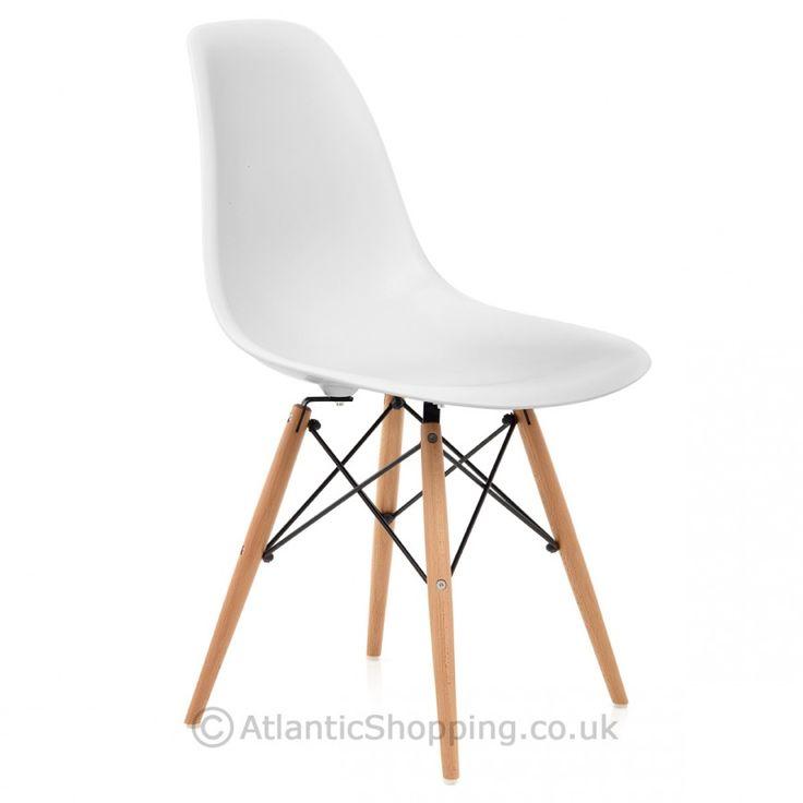 Eames Style Wooden Chair & Satin White - Atlantic Shopping