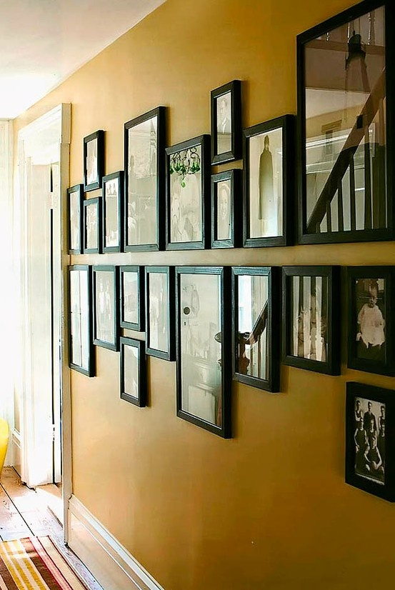 Hallway of pictures. I like the line down the middle.