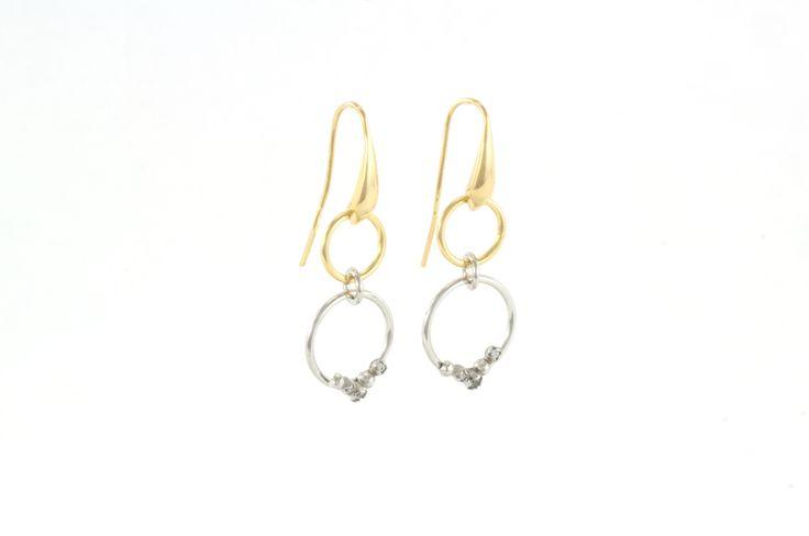 Shop on-line in www.eosbijoux.com orecchini in argento, silver earring, finitura oro e rodio bianco, zircon, fashion jewelry, irecchini pendenti, elegant jewel, dainty earrings