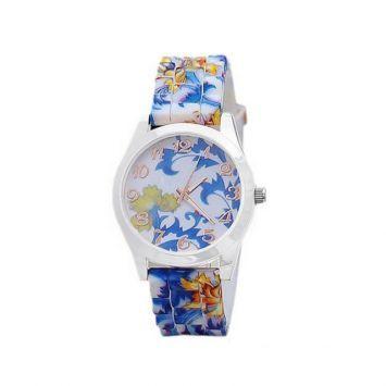 Часы - Синий принт (Белые)