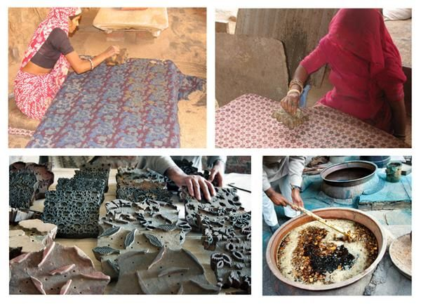 Description of artisan hand block printing in Jaipur, Bagru and Sanganer. History and modern context of hand block printing.