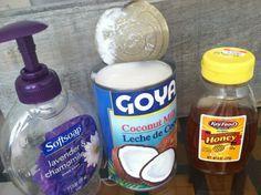 Mascarilla para el.cabello. Ingredientes: leche de coco y miel de abejas.  Beneficios: hidratante, evita la caída del cabello y da brillo