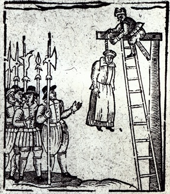 Public Hanging of a Woman (woodcut) English School, (17th century)