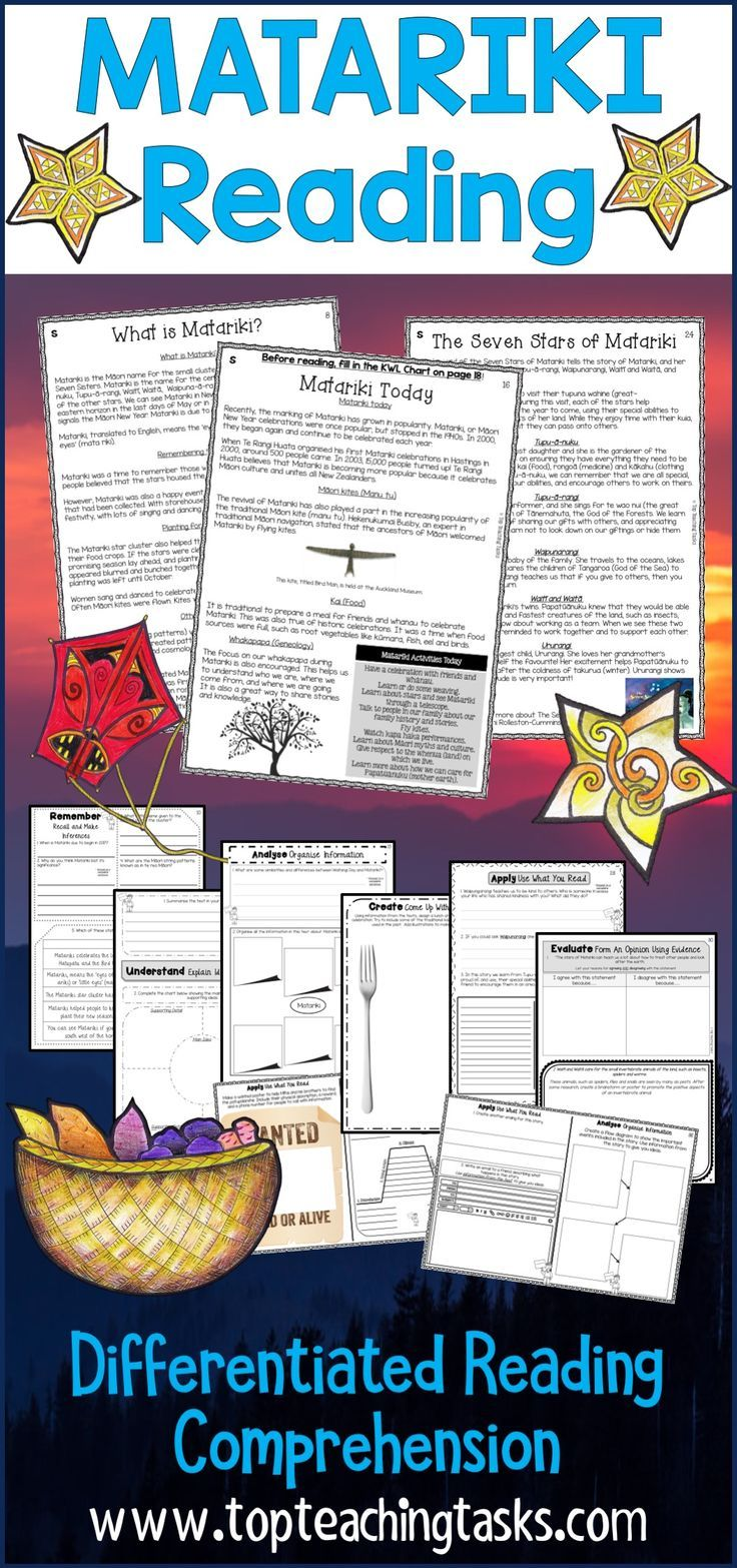 Three Year Five and Year Six fiction and non-fiction passages with six engaging text dependent higher order thinking tasks - perfect for guided reading in your classroom! Learn more about the history of Matariki, how Matariki is celebrated today, and a popular Māori myth based on the Matariki star cluster. Also includes activities for two popular Matariki books. #Matariki #Matariki Reading #MatarikiActivities