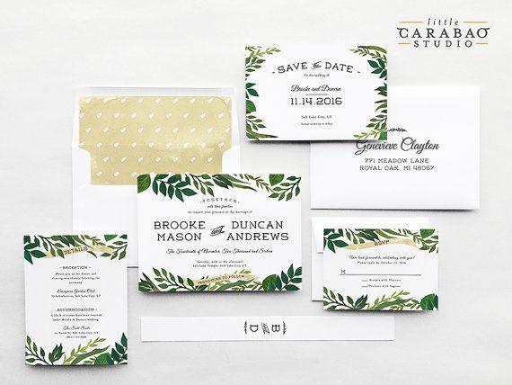 Wedding Invitation PRINTED Sample Wedding by littlecarabaostudio