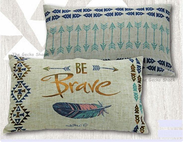 The Gecko Shack - Gypsy Spirit BE BRAVE arrow dreamcatcher inspired 50cm Cushion by Lisa Pollock, $37.95 (http://www.geckoshack.com.au/gypsy-spirit-be-brave-arrow-dreamcatcher-inspired-50cm-cushion-by-lisa-pollock/)