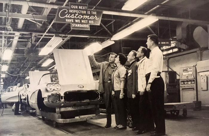Chevy Dealer Malcolm Konner visted the St. Louis assembly plant in 1959 with a group of customers. Following the tour, they picked up their new Corvettes and drove back to New Jersey