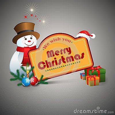 We wish you Merry Christmas text, Christmas balls and Snowman