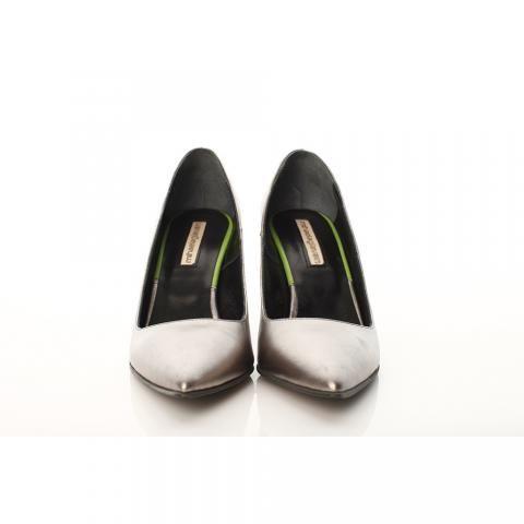 Pantofi toc mic piele argintie | The Boutique