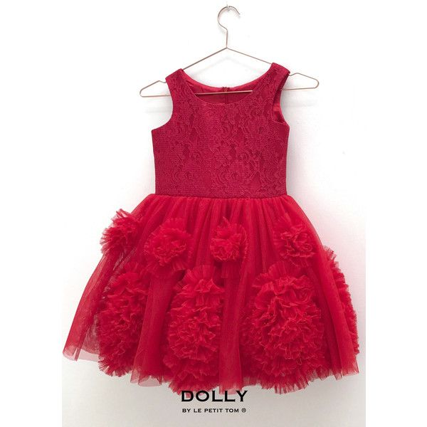 DOLLY by Le Petit Tom REBELLIOUS DRESS red (635 BRL) ❤ liked on Polyvore featuring dresses, red prom dresses, red lace dresses, red ruffle dress, petite party dresses and red party dresses